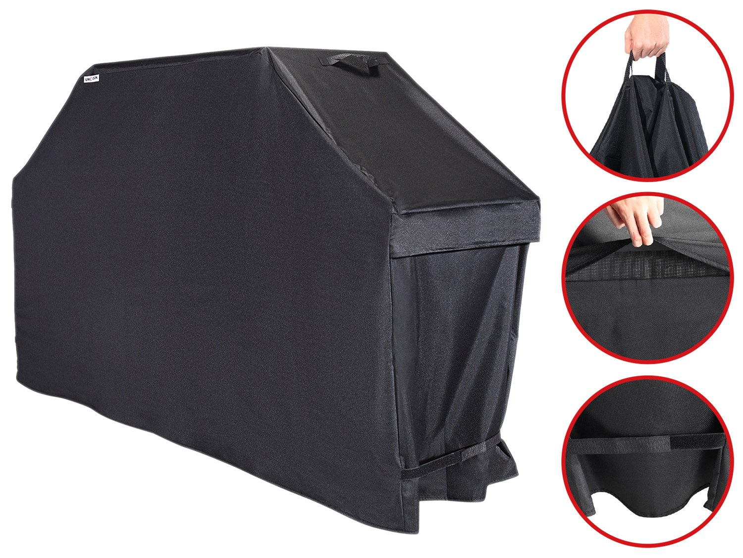 "Unicook Heavy Duty Universal Barbecue Grill Cover, 55-inch, Color Fading Resistant, UV Resistant, Easy Lifting Handles, Helpful Air Vents, Waterproof, All Weather Protection, 55""W x 21""D x 38""H"