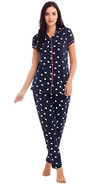 77a1995c17 ZEYO Women s Cotton Light Pink   Navy Blue Heart Print Night Suit ...