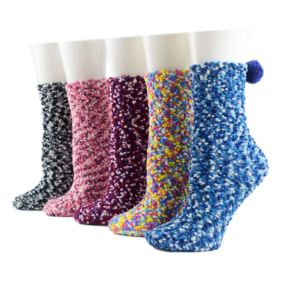5 Pairs Girls Fluffy Coral Velvet Warm Socks Floor Home Winter Fuzzy Socks Ziye Shop
