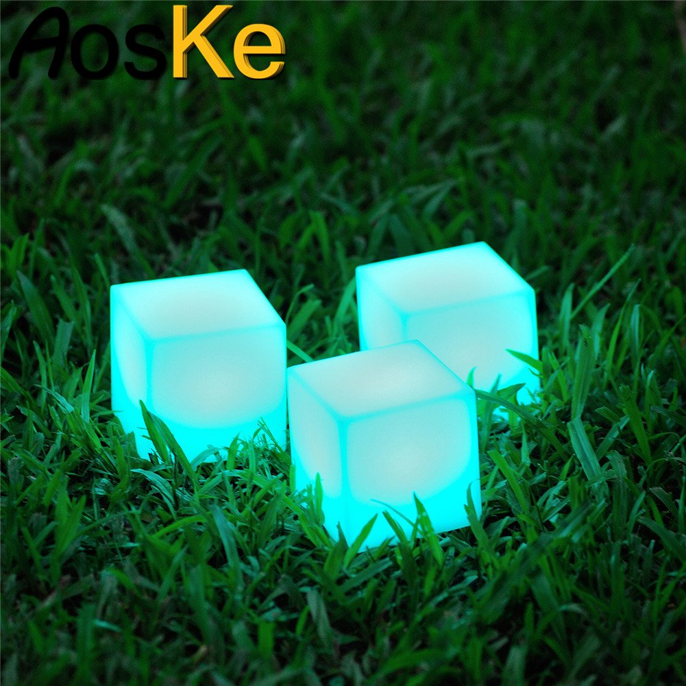 AosKe 4.7-inch Floating LED Pool Glow Light cube Night light Outdoor Living Garden Light Decor Waterproof Color Changing cube for child kids children's room