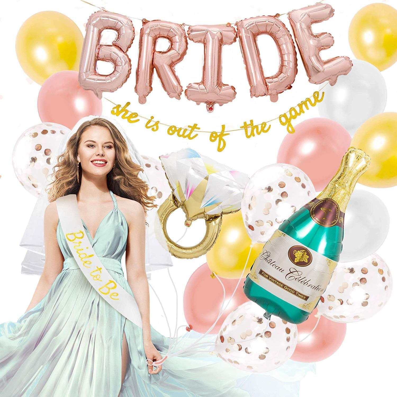 Globos Despedida de Soltera, Decoracion Despedida de Soltera Bride to Be Sash and Veil, Anillo de Diamantes 3D Champagne Bottle Foil Balloons 4 Colores Globos de Látex, Gracioso Estandarte Dorado