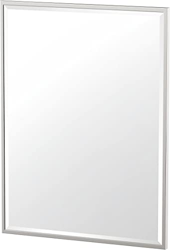 Gatco 1832 Flush Mount Framed Rectangle Mirror, 32.5-inch, Satin Nickel