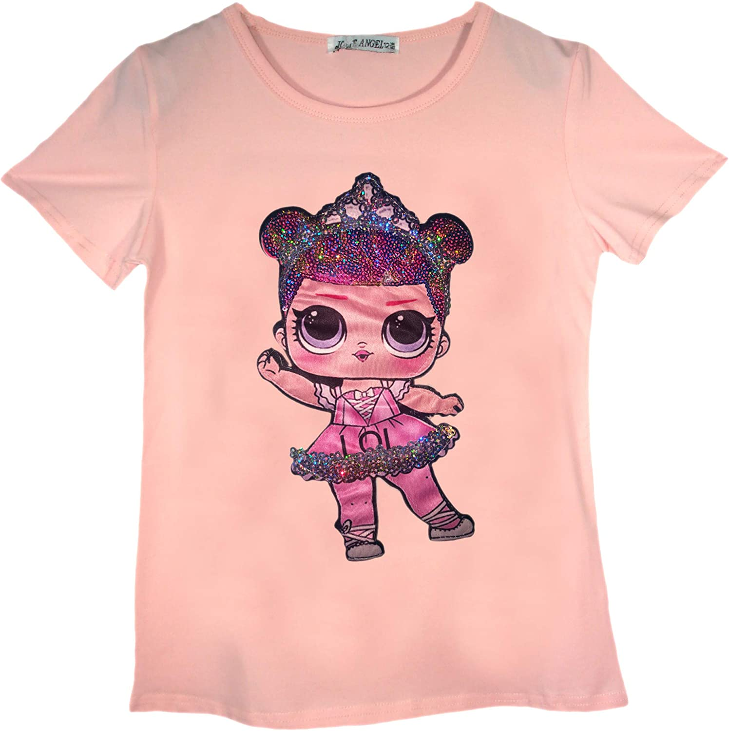 LOL Doll T-Shirts for Girls Emoji Doll Sequin Short Sleeve Tee Cotton Casual Girls Tshirt Size 3-14 Years
