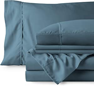 Bare Home 4 Piece 1800 Deep Pocket Bed Sheet Set - Twin Extra Long - Ultra-Soft Hypoallergenic - 2 Pillowcases (Twin XL, Coronet Blue)
