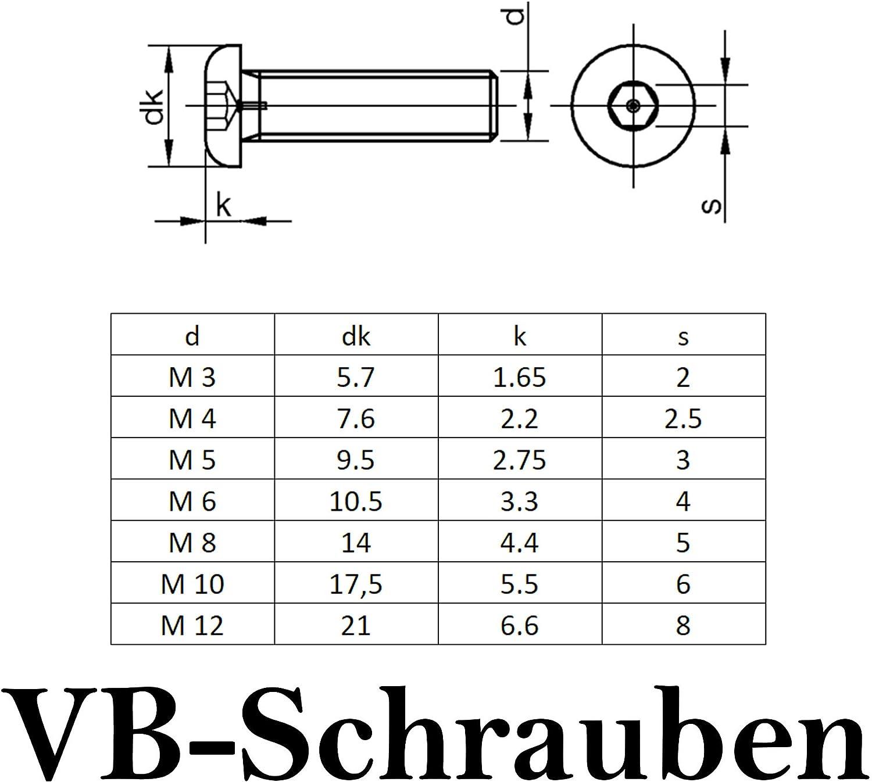 rostfrei 50 St/ück Linsenkopf Linsenkopfschrauben mit Flansch und Innensechskant Flachkopfschrauben OPIOL QUALITY M6x120 ISO 7380
