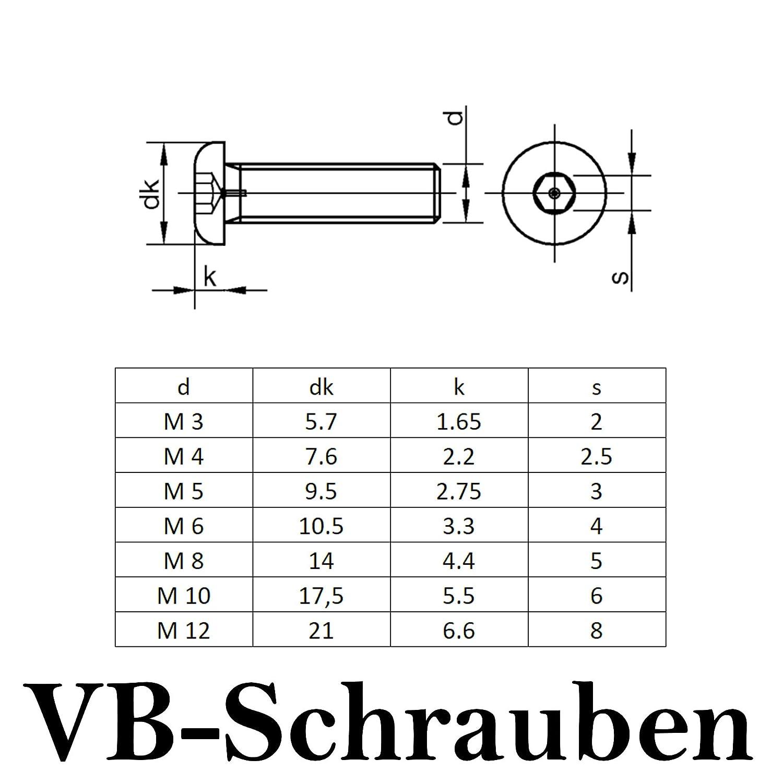Linsenkopfschraube Edelstahl A2 rostfrei V2A | Flachkopfschrauben Linsenschrauben 10 St/ück Innensechskant ISK ISO 7380 VB-Schrauben Vollgewinde M5x20 |