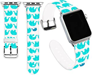 Jolook for Apple Watch Bands 40mm,Jolook Soft Leather Sport Style Replacement iWatch Strap for Apple Watch 38mm 40mm Series 6/5/4/3/2/1 - Cute Baby Blue Elephants