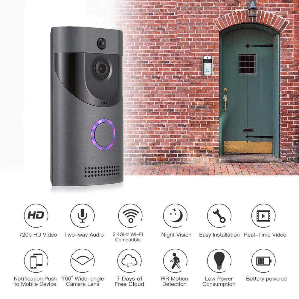 Imperm/éable /à leau sans Fil Smart WiFi Vid/éo avec Carillon Surveillance /à Distance de Soutien pour IPhone//Android Caméra 720P HD Sonnette Vision Nocturne LayOPO Sonnette Vid/éo Cam/éra 720P HD Sonnette