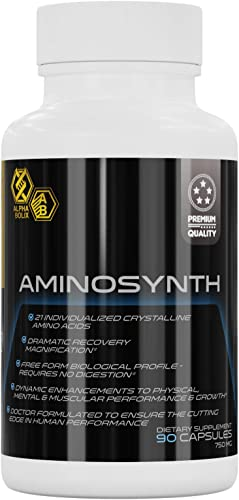 AminoSynth Dietary Supplement Energy Pills, 21 Essential Amino Acids, BCAA Stamina Booster Amino Complex for Prolific Keto Preworkout Endurance, Muscle Growth, Vascular Health Performance, 90 capsules