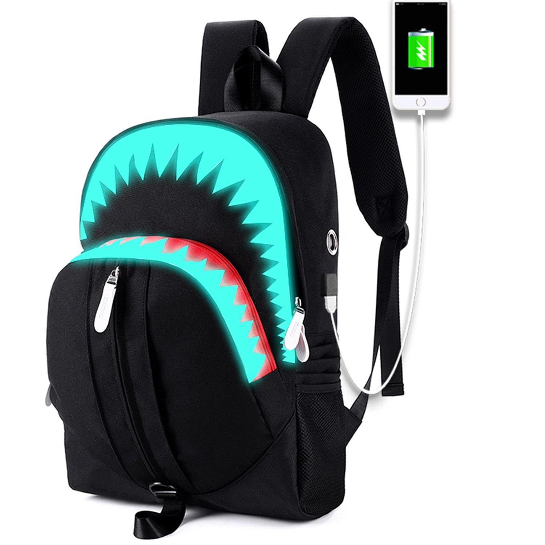 School Backpack Teen Boys Bookbag College Laptop School Bag,Lightweight Daypack Travel Rucksack With USB Charging Port For Middle School(sharp black)