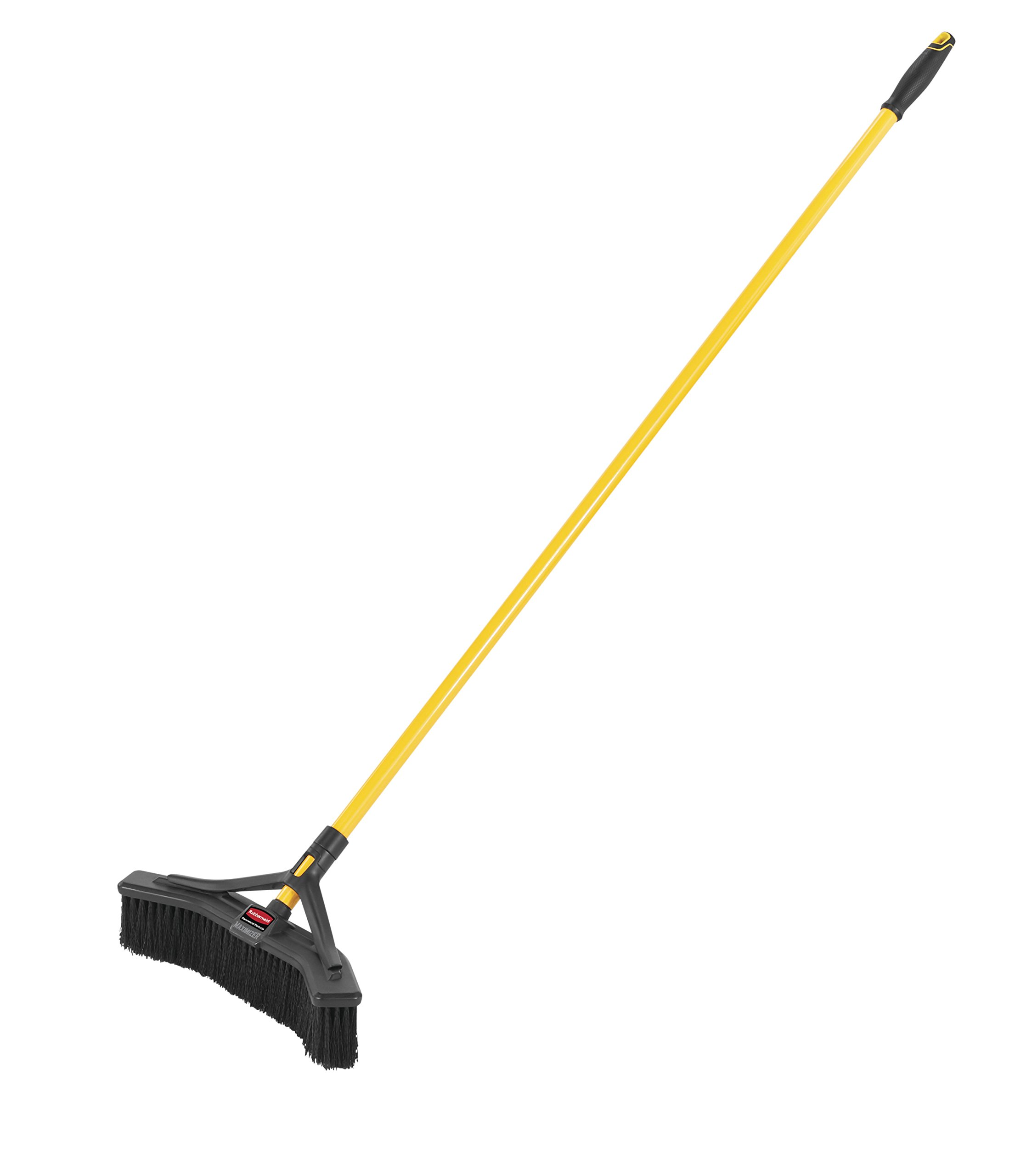 Rubbermaid Commercial Products Maximizer Push-to-Center Broom with Multi-Purpose Bristle, 18'' Wide, Black (2018727)