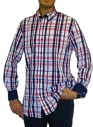 Ridebike Camisa de Cuadros Vespa | Custom fit | Tonos Rojos y Azules (XL): Amazon.es: Ropa y accesorios