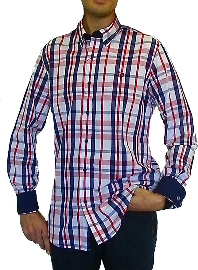 Ridebike Camisa de Cuadros Vespa   Custom fit   Tonos Rojos y Azules