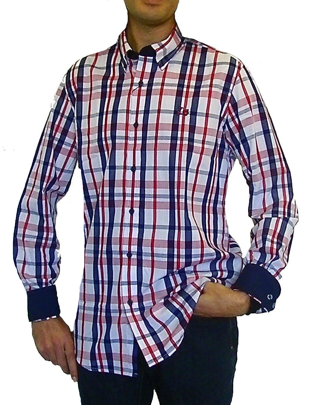 TALLA S. Ridebike Camisa de Cuadros La Vespa | Custom Fit | Tonos Rojos y Azules
