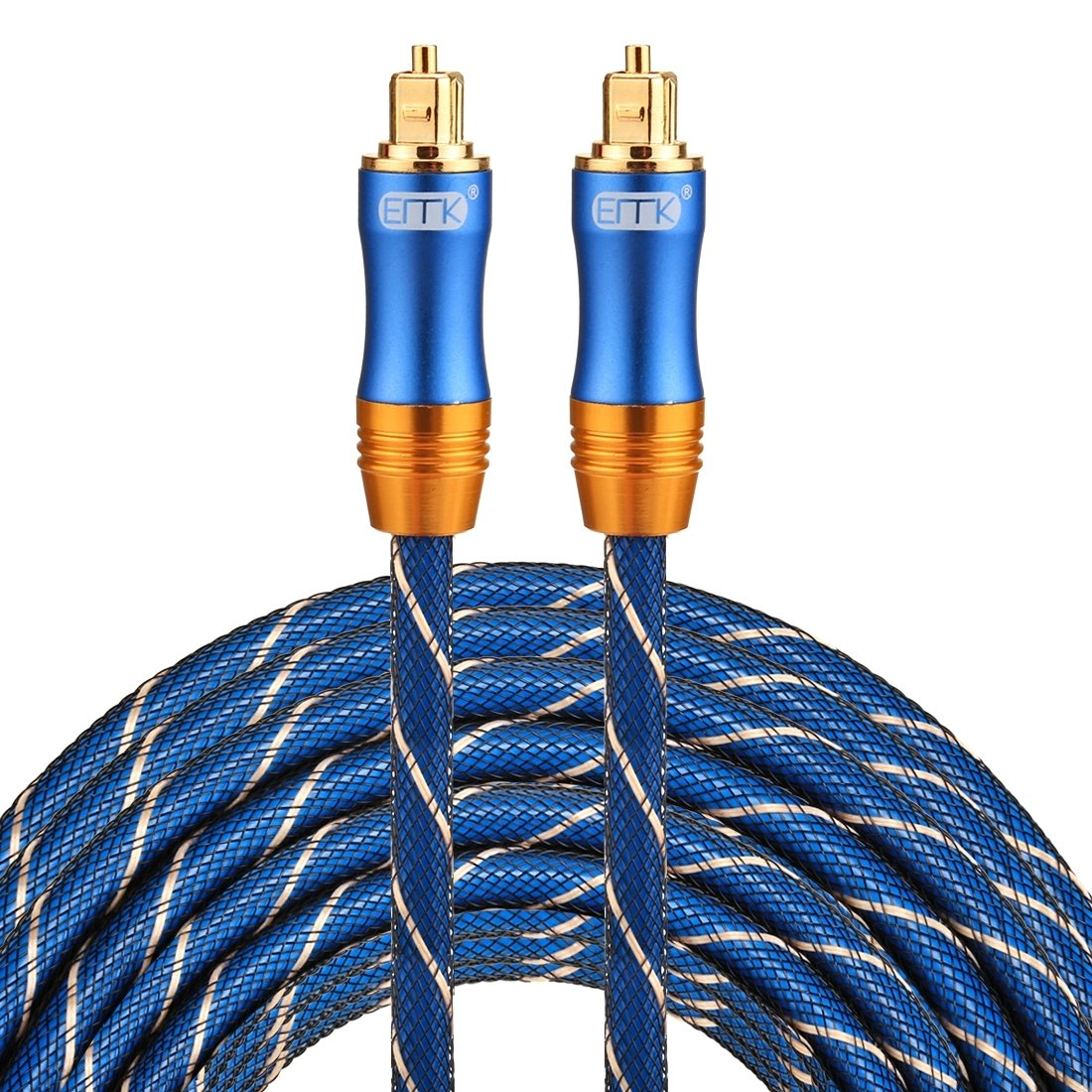 Optical Cables, EMK LSYJ-A 15m OD6.0mm Gold Plated Metal Head Toslink Male to Male Digital Optical Audio Cable