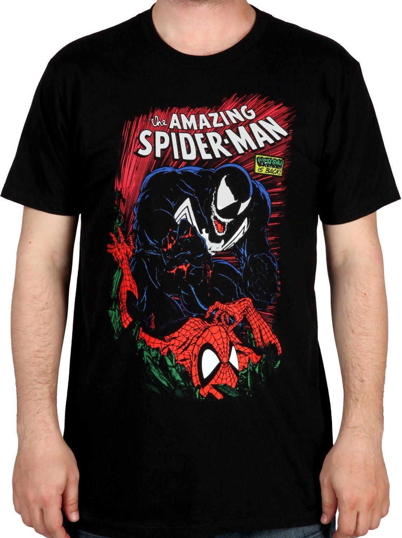 Mighty Fine Men's Spiderman and Venom Shirt Black 2XL