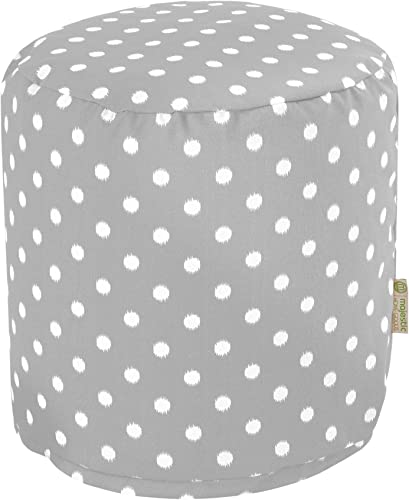 Majestic Home Goods Gray Ikat Dot Indoor Outdoor Bean Bag Ottoman Pouf 16 L x 16 W x 17 H