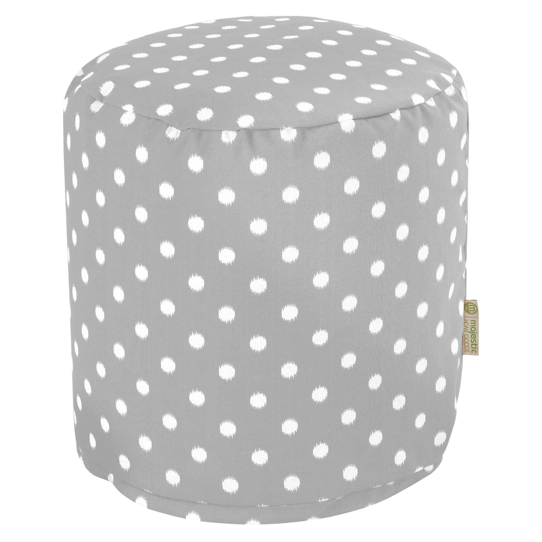 Majestic Home Goods Gray Ikat Dot Indoor/Outdoor Bean Bag Ottoman Pouf 16'' L x 16'' W x 17'' H