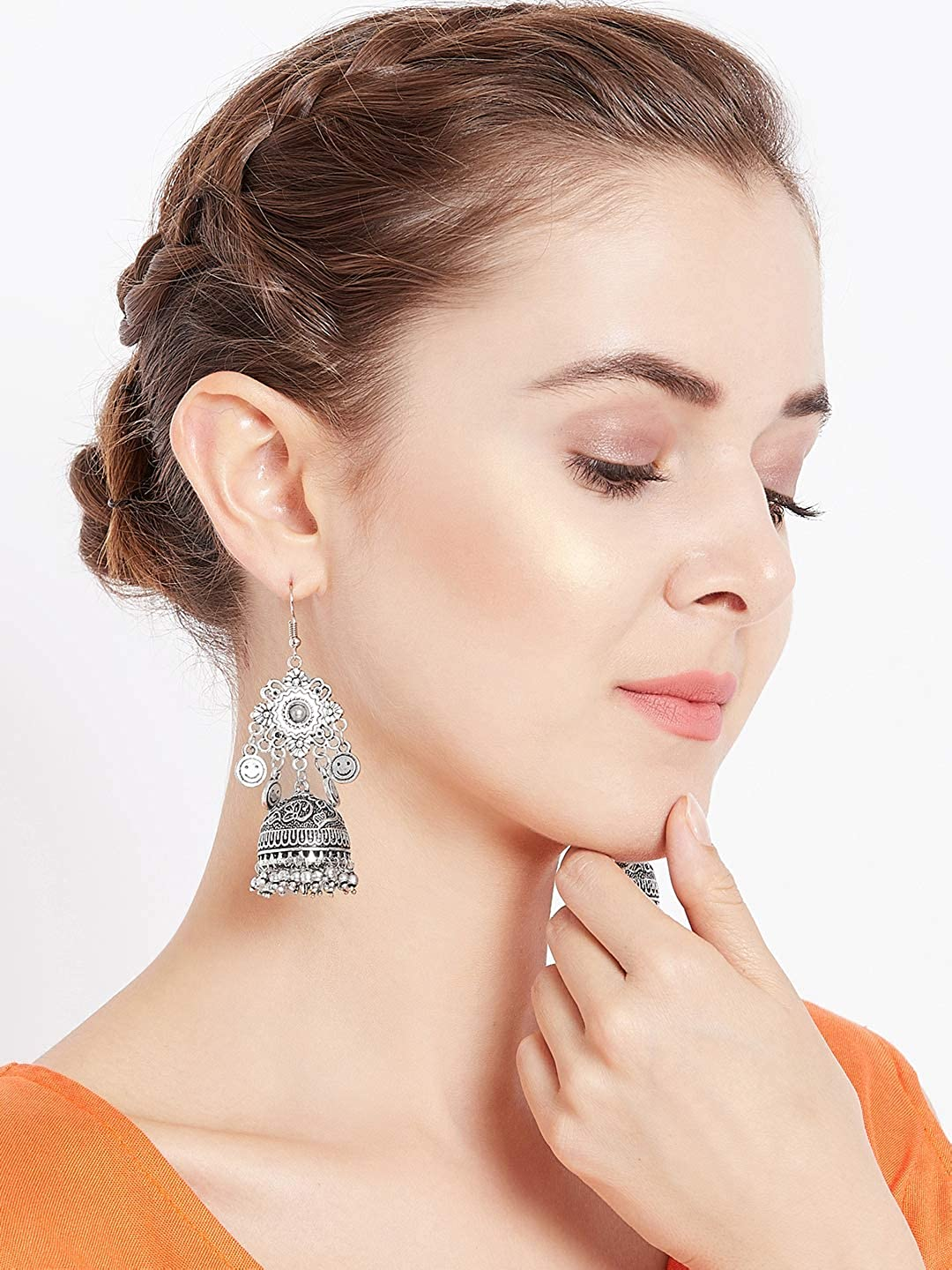 ZeroKaata/ Fashion Jewellery Embellished Tribal Jewellery Jhumki Earrings With Hanging Smilies For Women /& Girls