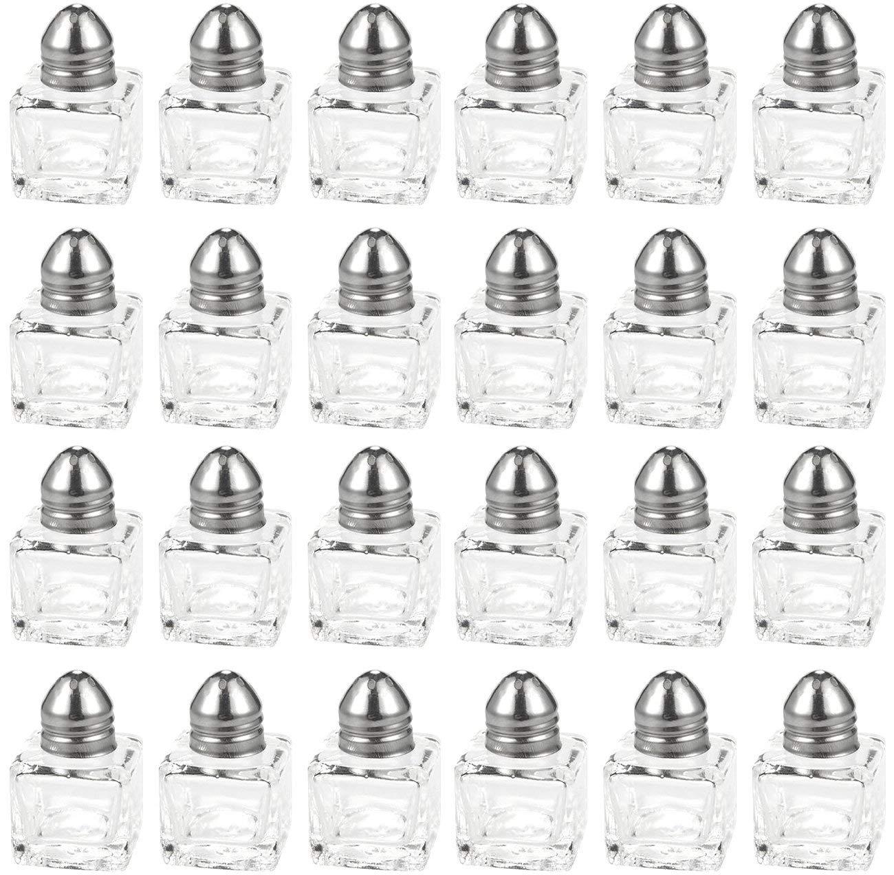 Srenta Mini Salt & Pepper Shakers Set | Classic Design Transparent Glass Kitchenware | Essential Dining Table Refillable Tool | 0.5 Oz. Set of 24 by Srenta