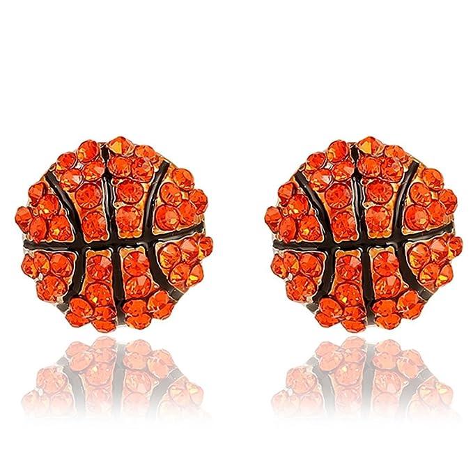 Vinciann 2 x pendientes pendiente botón purpurina Balón Baloncesto ...
