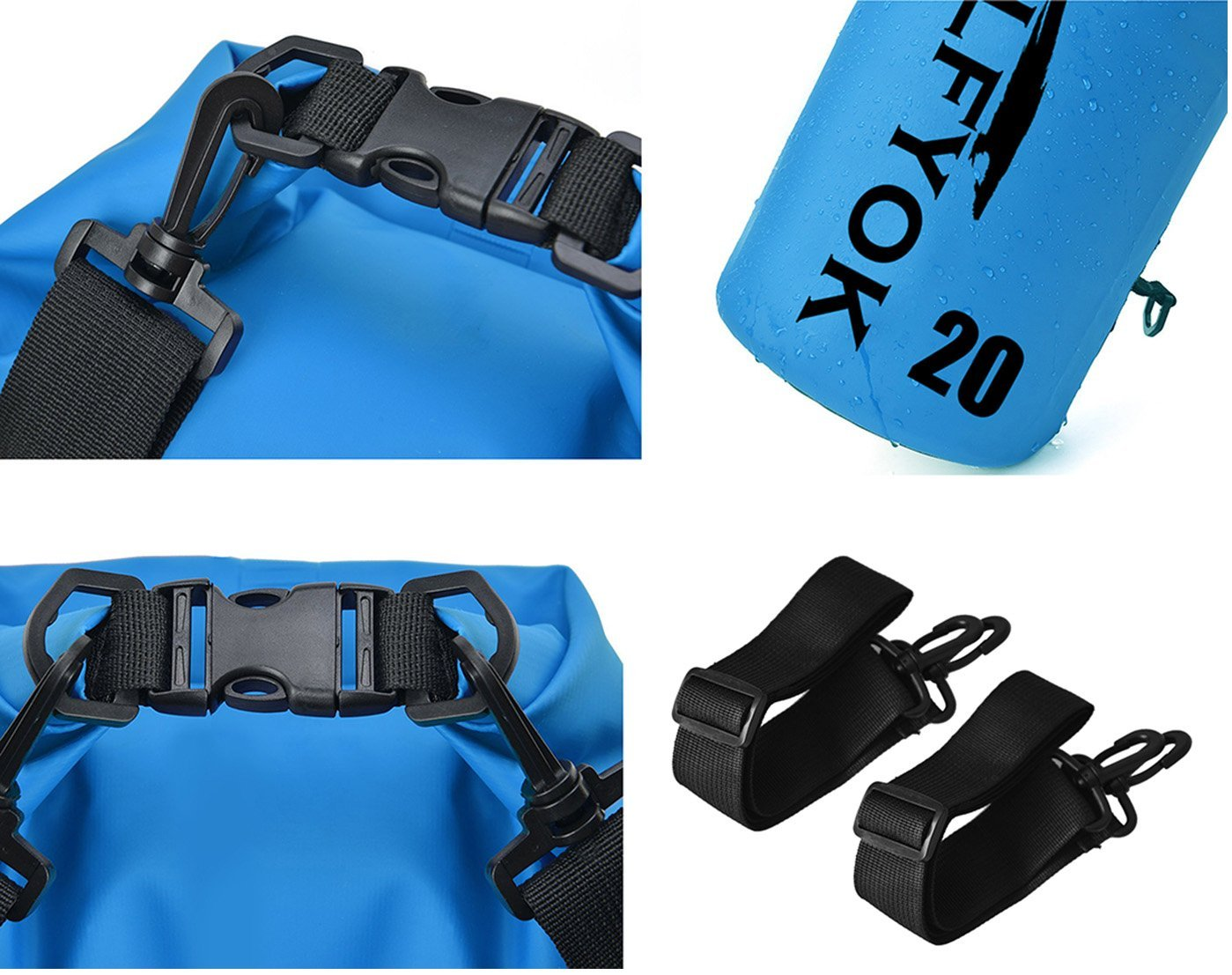 Hiking Rafting Fishing Camping 10L with Shoulder Straps Heavy-Duty PVC Floating Roll Top Dry Sack for Kayaking Boating Wolfyok Waterproof Dry Bag Set 20L Swimming