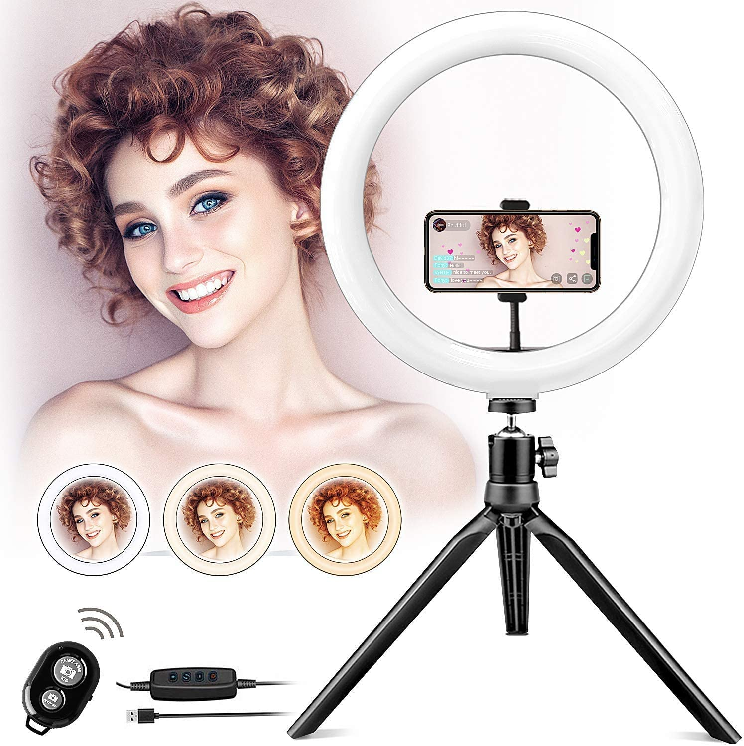 10 Inch Led Ring Light with Tripod Stand and Phone Holder, 3 Colors 10 Brightness Dimmable WAS £15.99 NOW £8.79 w/code MURVLGZB @ Amazon