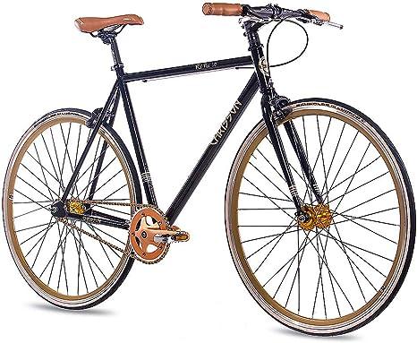 Chrisson FG Flat 1.0 2016 - Bicicleta fixie de 28 pulgadas, sin marchas, color negro y dorado: Amazon.es: Deportes y aire libre