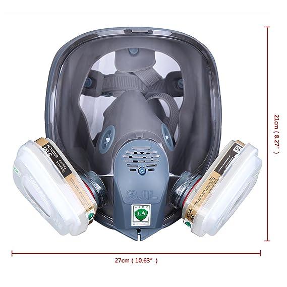 paneltech 7 pcs en 1 3 m 6800 reutilizable máscara de gas mascarilla con filtro reemplazable - Protección para cara cara completa ajustable de carbón ...