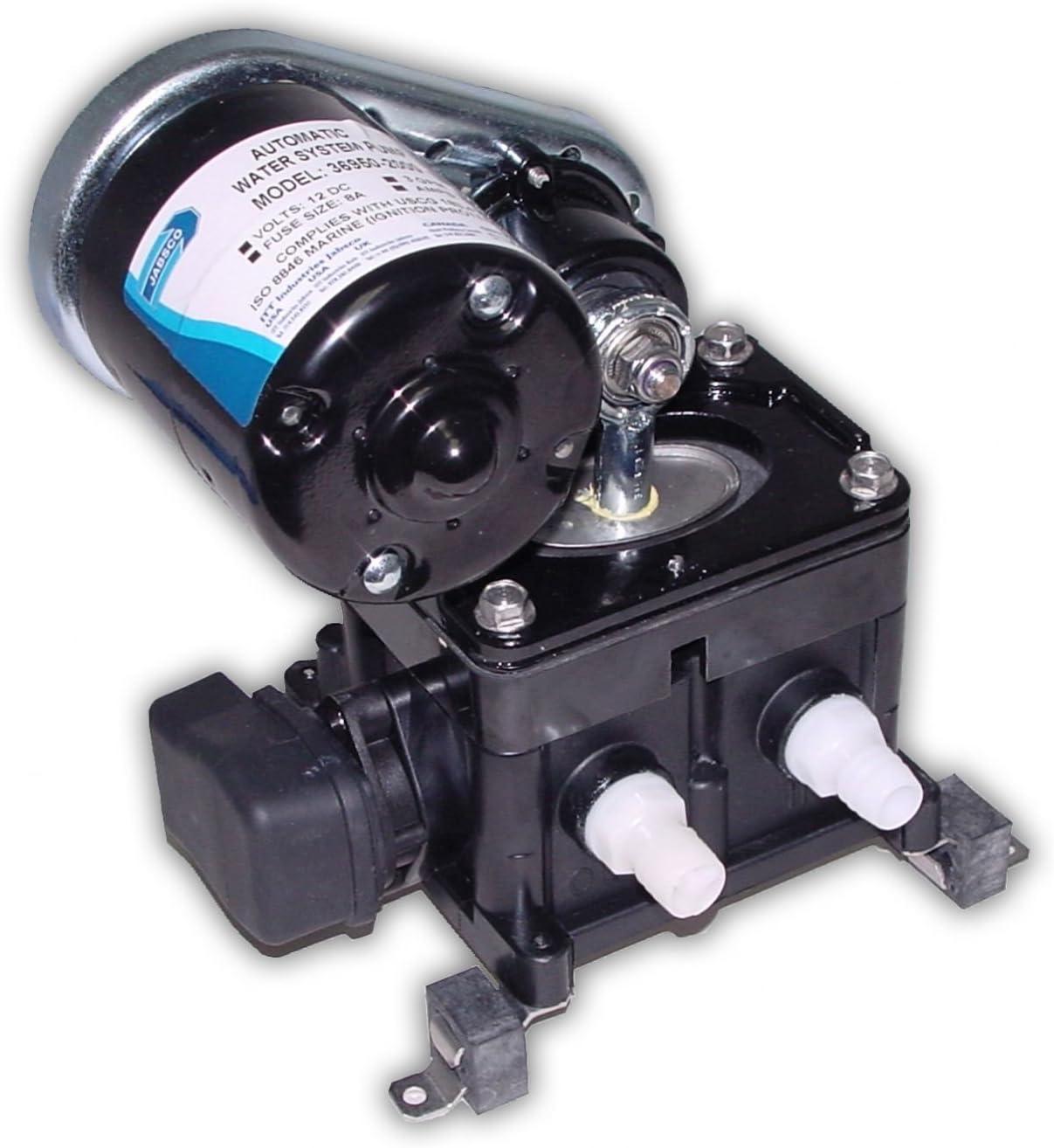 Jabsco 36950-2000 Marine PAR High Pressure Belt Drive Water Pressure Pump (3-GPM, 40-PSI, 12-Volt, 8-Amp, Up to 4 Outlets), Black