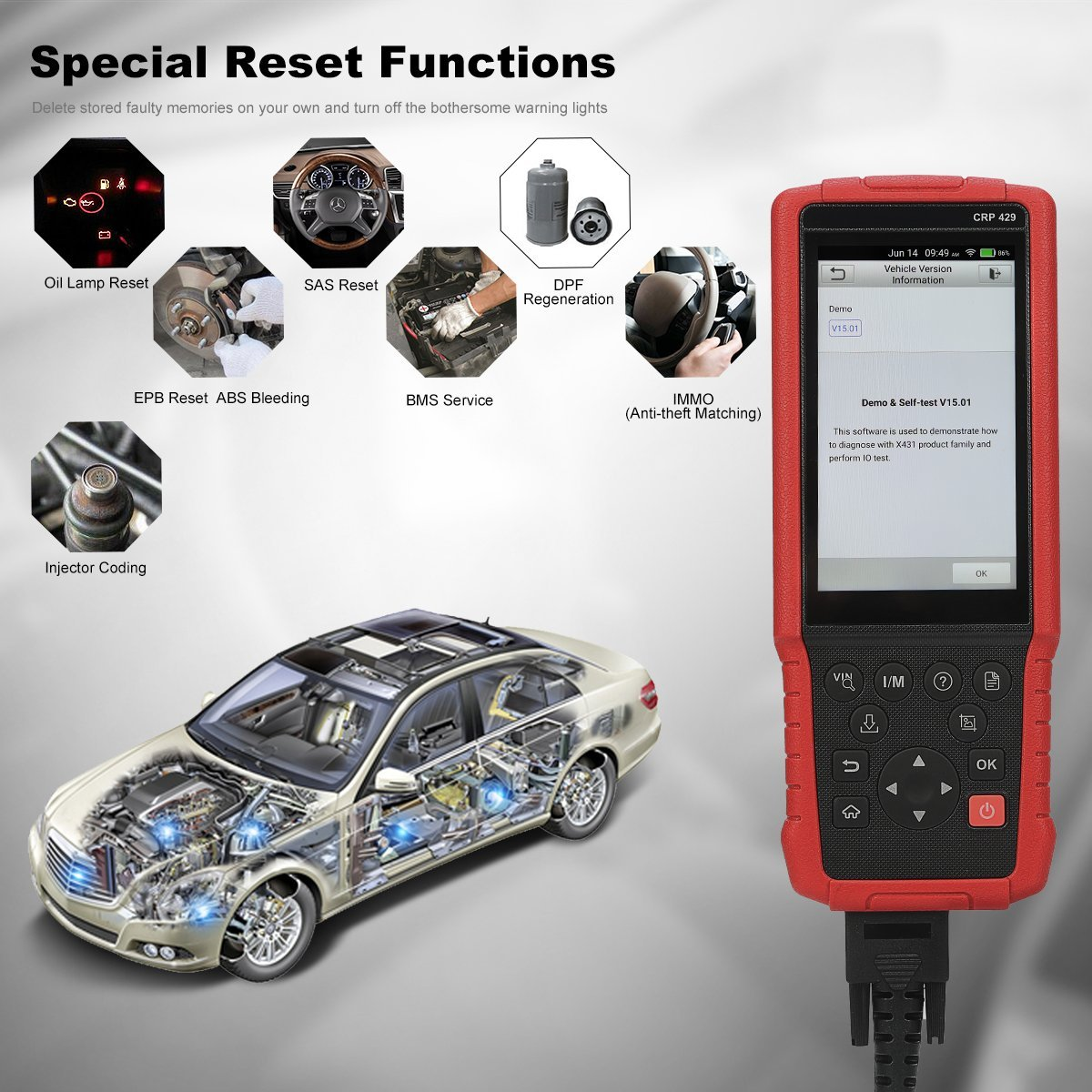 LAUNCH CRP429 OBD2 Scanner Diagnostic Scan Tool Srs ABS Full System Code  Reader Reset Functions of Oil Reset, Epb, BMS, Sas, DPF, ABS Bleeding,