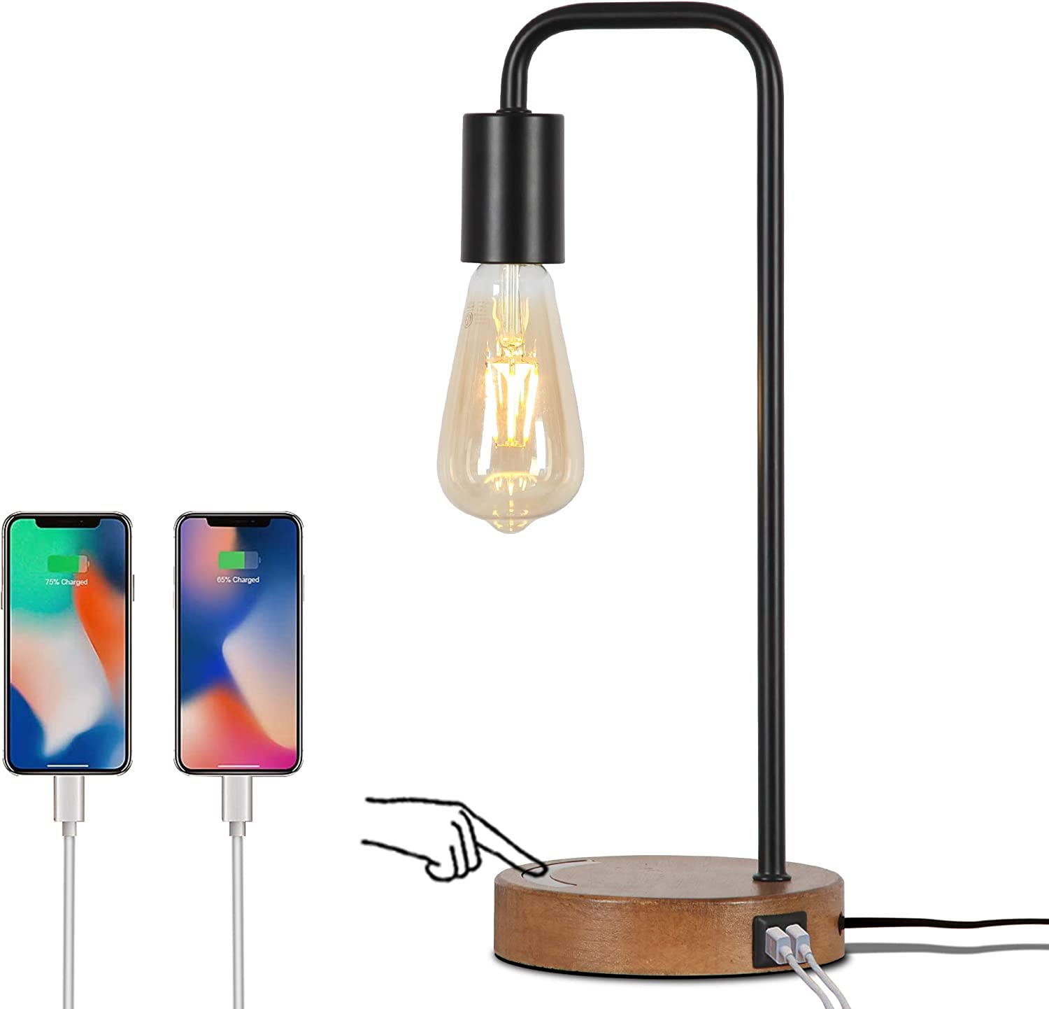 Touch Control Industrial Desk Lamp , Dimmable Bedside Lamp with Faux Wood Base Nightstand Table Lamp Office Work Lamp for Living Room Bedroom, Office, College Dorm Included 3 Way Bulb