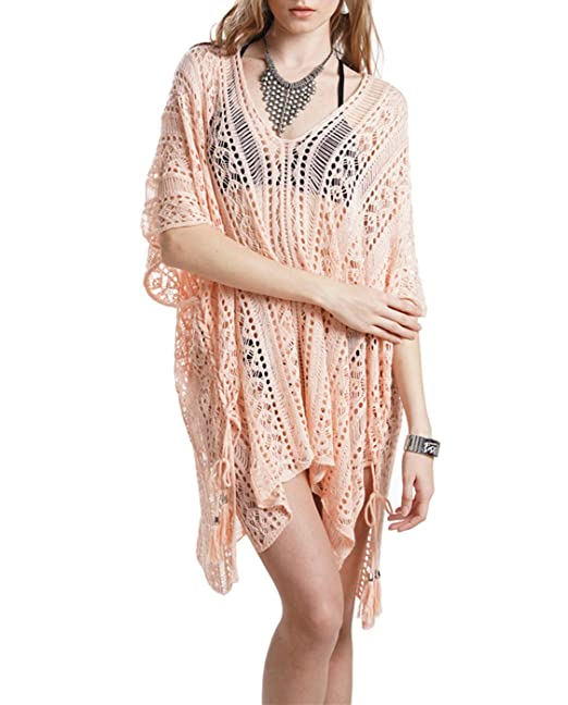 1378c36df5a SIAEAMRG Women's Bathing Suit Cover Up Summer Beach Swimsuit Bikini  Swimwear Crochet Dress (Pink)
