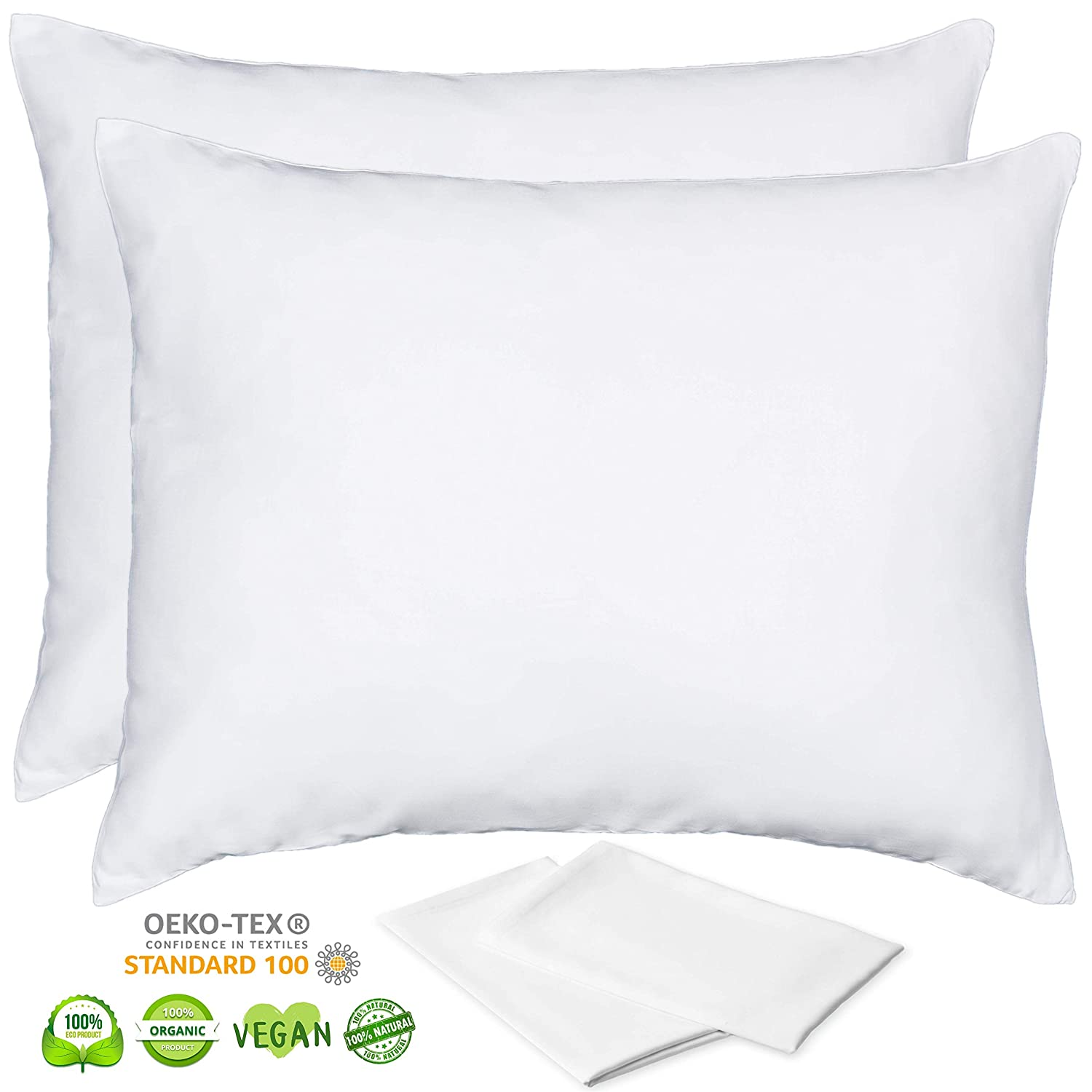 Organic Bamboo Pillow Cases Lyocell - King Size Pillow Cases Set of 2 with Zipper White 20x36 Inches Cooling for Night Sweats Hot Flashes Ultra Soft Eco Friendly Hypoallergenic Breathable Pillowcase