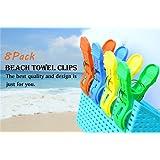 Kyerivs 8 Stück große Wäscheklammern Kunststoff Clips Quilt Clips für tägliche Wäsche, großes Strandtuch, schwere Badetuch, dicke Teppich etc.