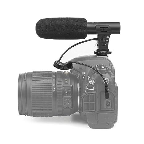 D&F - Micrófono estéreo para cámara réflex Digital Nikon y Canon ...