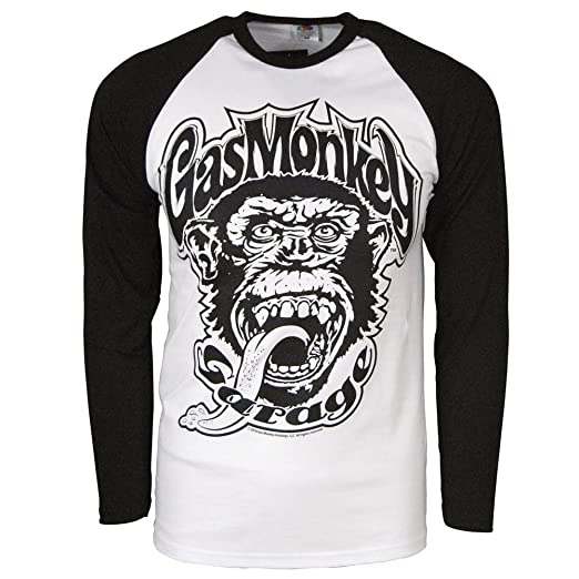 Mens Official Gas Monkey Garage 04 Baseball Long Sleeve T Shirt Black Large – Chest 40