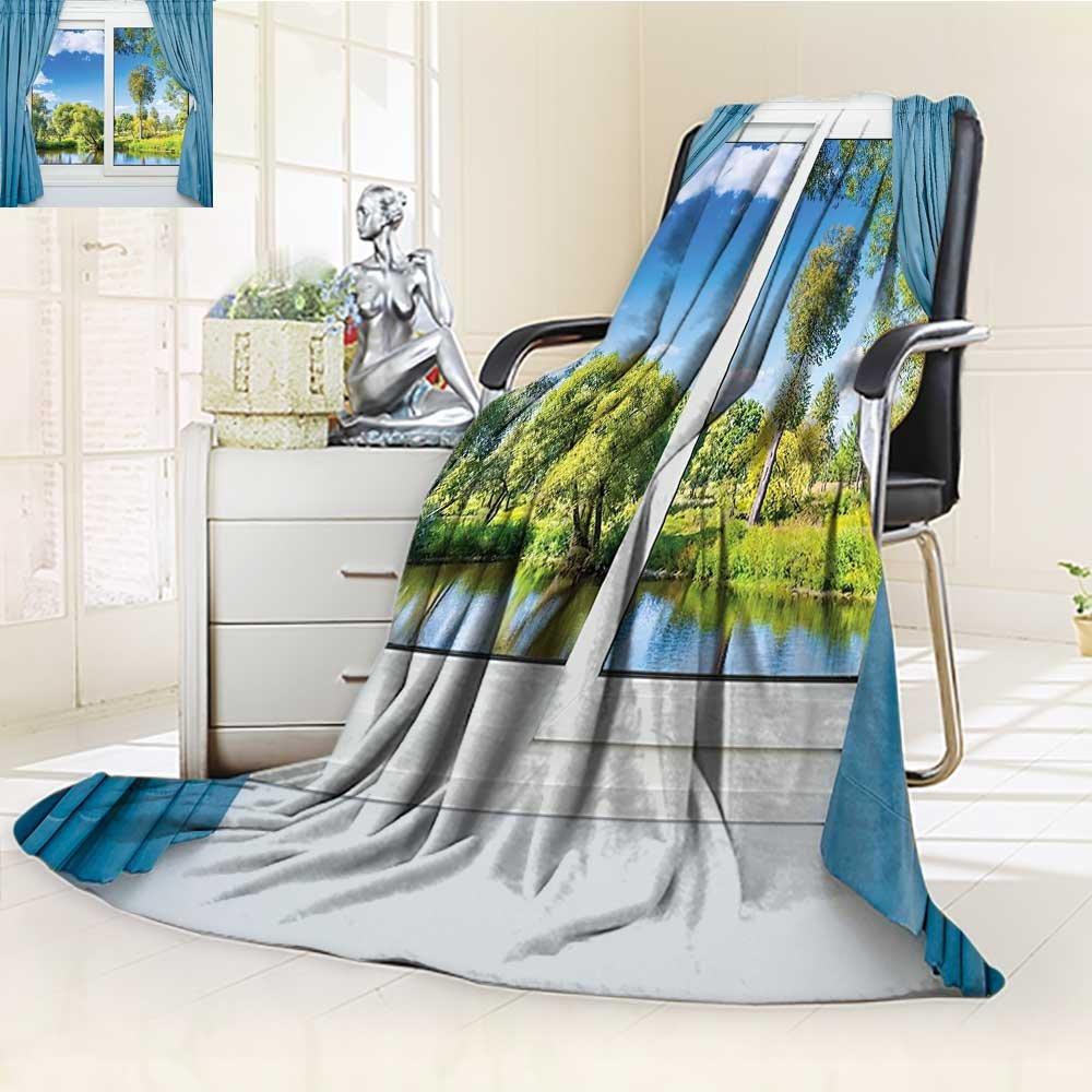 AmaPark Lightweight Blanket Rural View from The Window Reflection in Water River Tree Digital Printing Blanket
