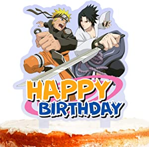 Ninja Cake Topper Happy Birthday 2 Cartoon Character Fight Game Heroes Video Game Theme Decor for Baby Shower Birthday Party Decorations Supplies Acrylic