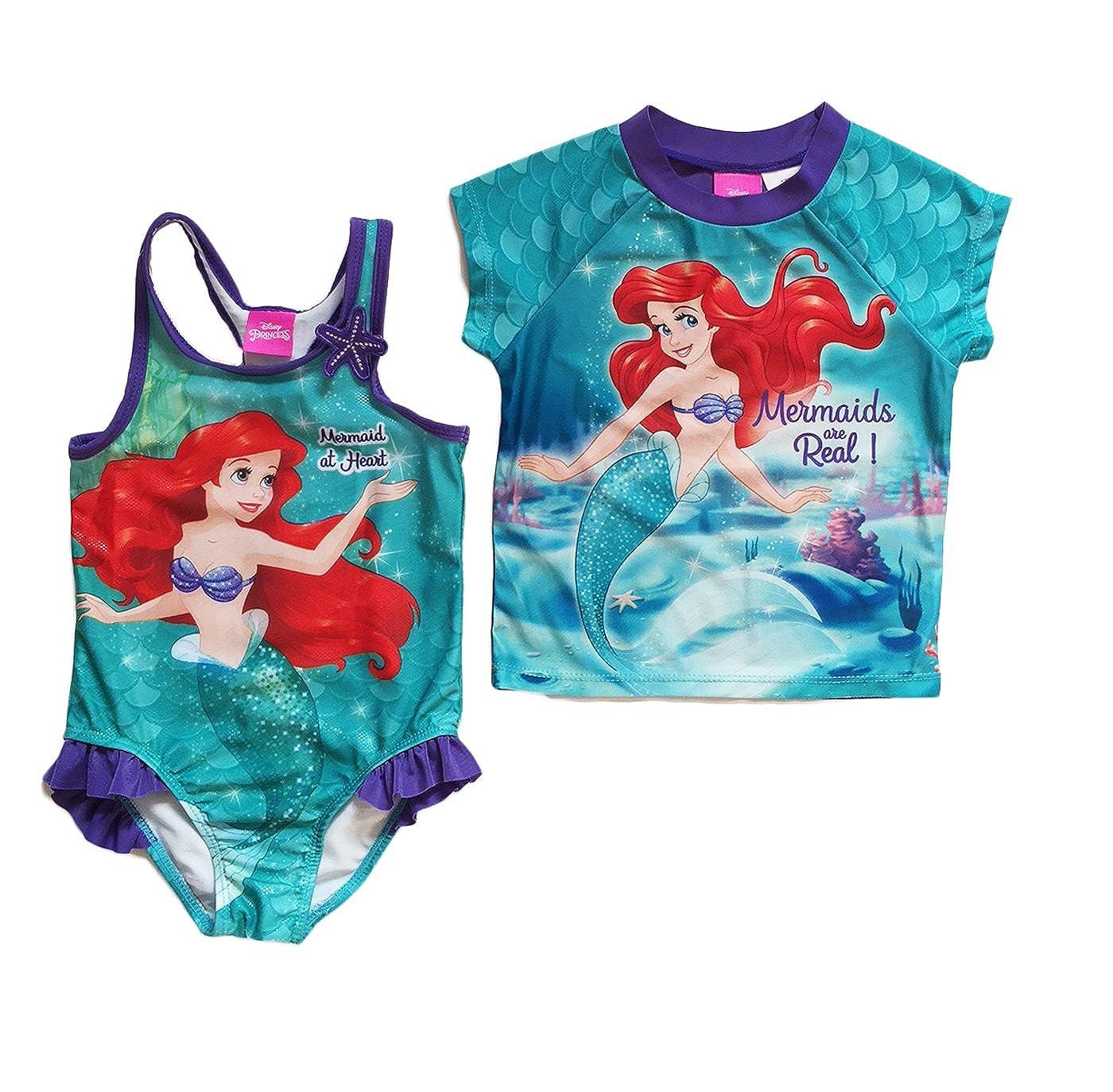 Disney Little Mermaid Ariel Little Girls Swimsuit and Rash Guard Set