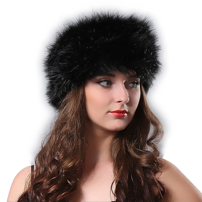yanibest Langes Haar Stirnband Rückseite aus Falscher Kunstpelz für Frauen Winter Weiche Ohrenschützer Ski Hat mit Kopfbedeckungen