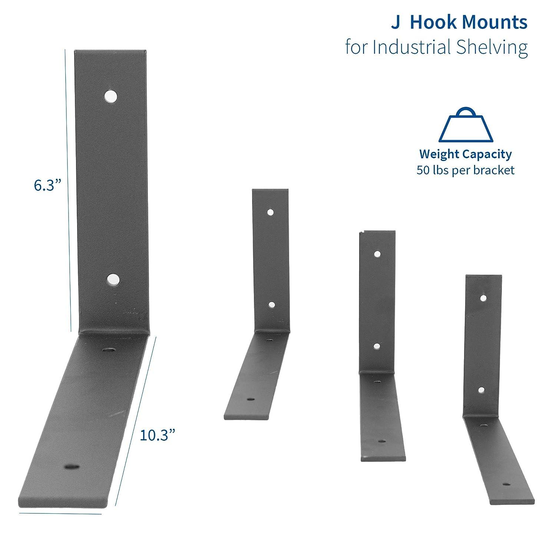   Modern Curved J Hook Mounts for Industrial Shelving Brackets Only VIVO Steel 10 x 6 inch Angle Shelf Brackets 4 pcs MOUNT-SF05L