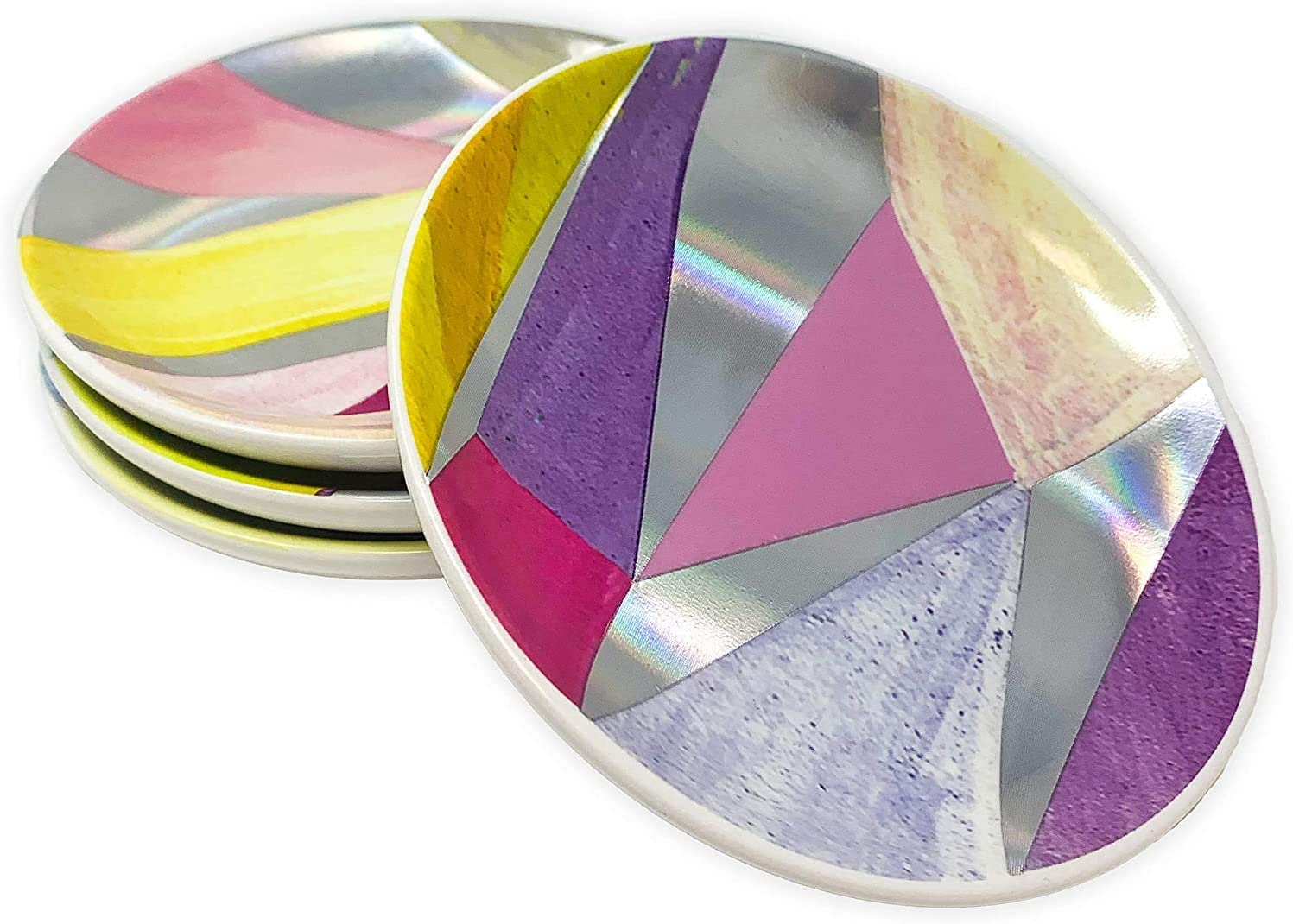 Kendra Scott Ceramic Coaster Set of 4, Cute Round Drink Coasters for Home/Office Tables, Iridescent Facets