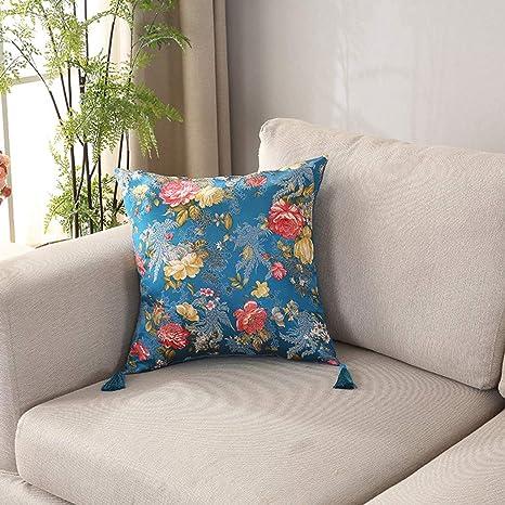W&HH SHOP Almohada de satén por sofá cojín reposacabezas ...