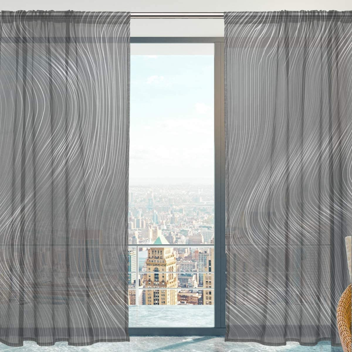 senya SAVSV Sheer Window Curtain Panels Long Voile Drapes Fashion Morden Gray Abstract Design 55 W x 78 L Set of 2 for Living Room Bedroom Kitchen Window
