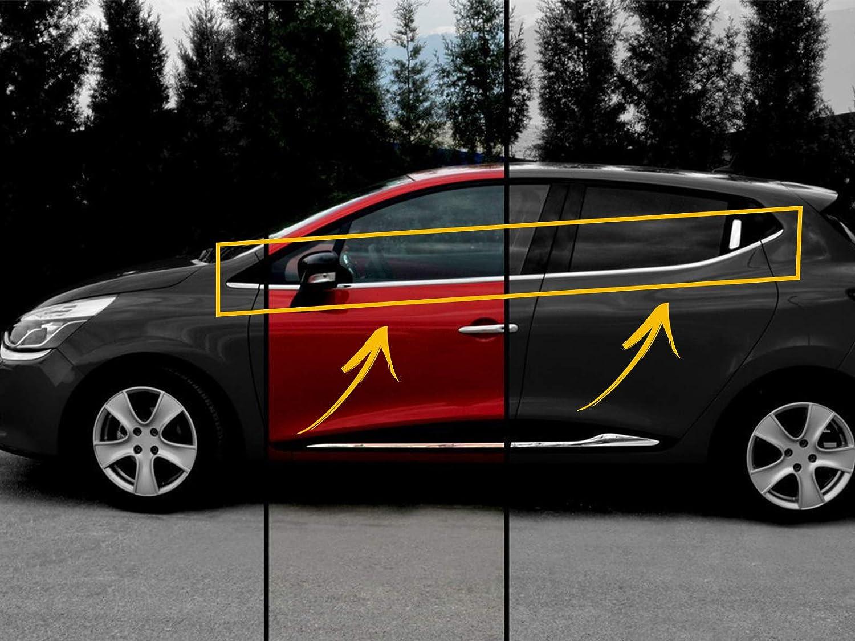 Finestre per Renault Clio IV 4 HB 2012 UP in Acciaio Inox Cromato 8 Pezzi 4 Porte