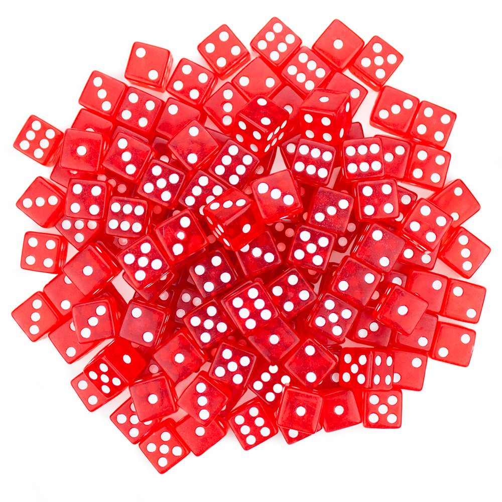 Brybelly 100 Red Dice , 16mm, Red