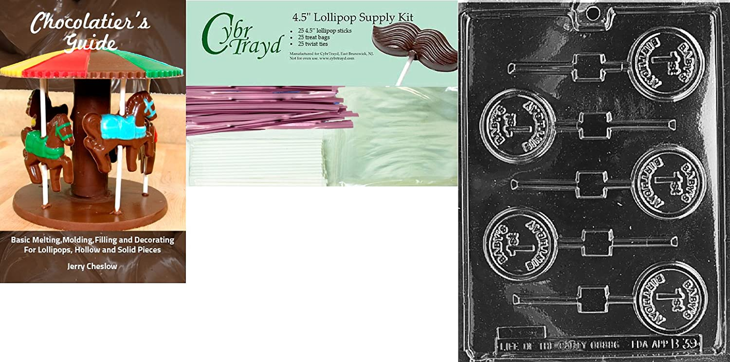 25 Cello Bags 25 Pink Twist Ties and Chocolatiers Guide Includes 25 Lollipop Sticks Cybrtrayd Babys 1st Birthday Lolly Chocolate Candy Mold with Chocolatiers Bundle
