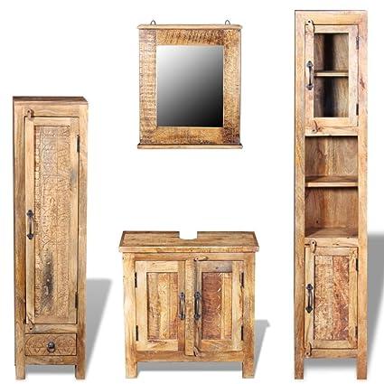 VidaXL Solid Mango Wood Vanity Cabinet Set Mirror Storage Bathroom Furniture