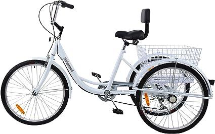 Ridgeyard Bicicleta de Carretera 6 velocidades 24 Pulgadas 3 Ruedas Adulto Bicicleta de Bicicleta Pedal de Ciclismo Cruiser Bicicletas: Amazon.es: Deportes y aire libre